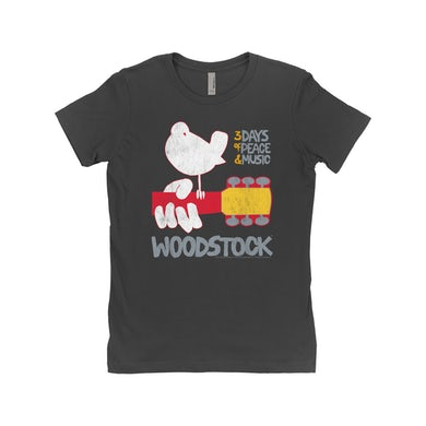 Woodstock Ladies' Boyfriend T-Shirt | 3 Days Of Peace And Music Logo Woodstock Shirt