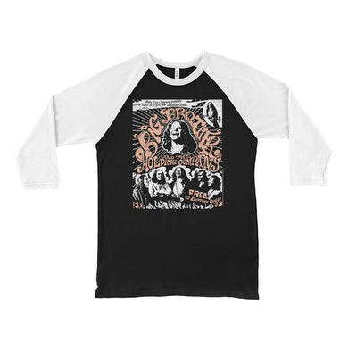Big Brother And The Holding Company Big Brother and The Holding Co. 3/4 Sleeve Baseball Tee | Featuring Janis Joplin Fresno Concert Flyer Big Brother and The Holding Co. Shirt