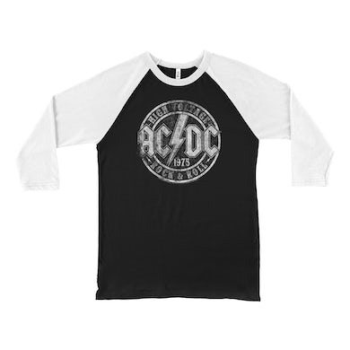 AC/DC 3/4 Sleeve Baseball Tee | Rock And Roll 1975 Stamped Design Distressed ACDC Shirt