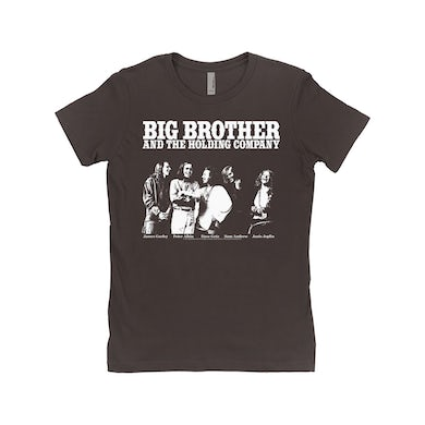 Big Brother And The Holding Company Big Brother and The Holding Co. Ladies' Boyfriend T-Shirt | Featuring Janis Joplin Black and White Photo Big Brother and The Holding Co. Shirt