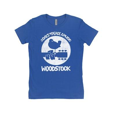 Woodstock Ladies' Boyfriend T-Shirt | Woodstock Bird And Guitar All In White Woodstock Shirt
