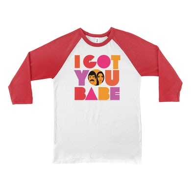 Sonny and Cher 3/4 Sleeve Baseball Tee | I Got You Babe Bright Logo Image Sonny and Cher Shirt
