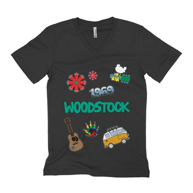 Woodstock Unisex V-neck T-Shirt | Woodstock Patches Design Woodstock Shirt