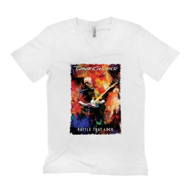 David Gilmour Unisex V-neck T-Shirt   Rattle That Lock Album Poster David Gilmour Shirt