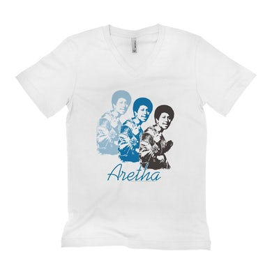 Aretha Franklin   Unisex V-neck T-Shirt   Aretha Retro Blue Design Aretha Franklin Shirt