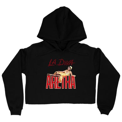 Aretha Franklin   Hoodie | La Diva Album Design Distressed Aretha Franklin Crop Hoodie