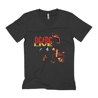 ACDC Unisex V-neck T-Shirt | AC/DC Live On Stage Design Distressed ACDC Shirt