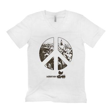 Woodstock Unisex V-neck T-Shirt | Crowd Photo Peace Sign Woodstock Shirt