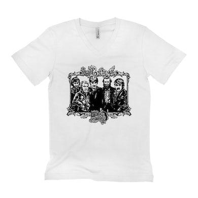 The Band Unisex V-neck T-Shirt | 50th Anniversary Logo Black The Band Shirt