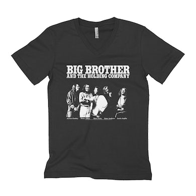 Big Brother And The Holding Company Big Brother and The Holding Co. Unisex V-neck T-Shirt | Featuring Janis Joplin Black and White Photo Big Brother and The Holding Co. Shirt