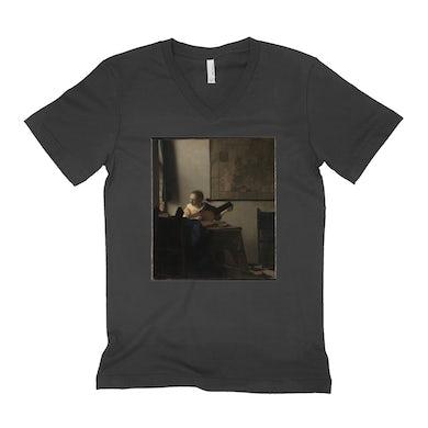 Merchbar Museum Series Unisex V-neck T-Shirt | Young Woman with a Lute Merchbar Museum Series Shirt