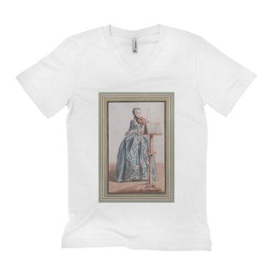 Merchbar Museum Series Unisex V-neck T-Shirt | Woman Playing the Violin Merchbar Museum Series Shirt