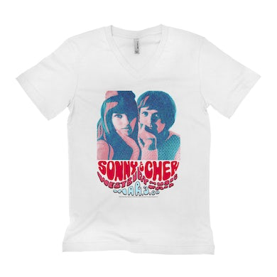 Sonny and Cher Unisex V-neck T-Shirt | Westbury Music Fair Red Psychedelic Flyer Sonny and Cher Shirt