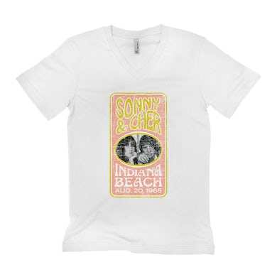 Sonny and Cher Unisex V-neck T-Shirt | Indiana Beach Peach And Avocado Concert Banner Distressed Sonny and Cher Shirt