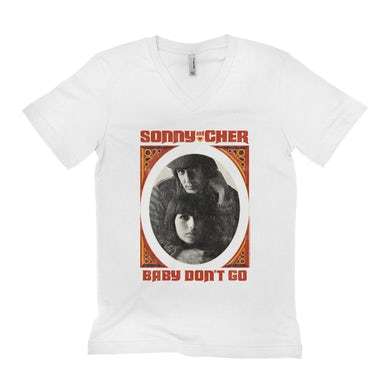 Sonny and Cher Unisex V-neck T-Shirt | Baby Don't Go Rust Frame Image Distressed Sonny and Cher Shirt