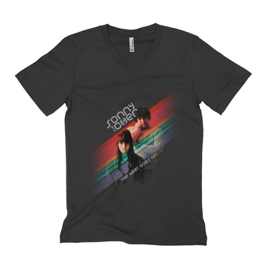 Sonny and Cher Unisex V-neck T-Shirt | The Beat Goes On Primary Color Stripes Sonny and Cher Shirt