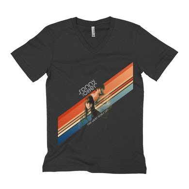 Sonny and Cher Unisex V-neck T-Shirt | The Beat Goes On Retro Stripes Sonny and Cher Shirt