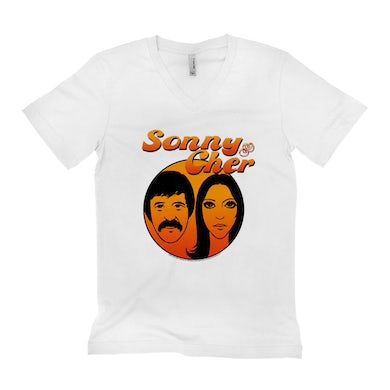 Sonny and Cher Unisex V-neck T-Shirt | Comedy Hour Illustration And Logo Ombre Sonny and Cher Shirt
