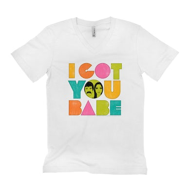 Sonny and Cher Unisex V-neck T-Shirt | I Got You Babe Pastel Logo Distressed Sonny and Cher Shirt