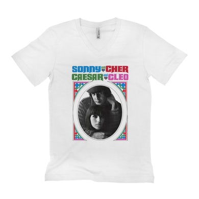 Sonny and Cher Unisex V-neck T-Shirt | Caesar And Cleo Retro Frame Image Sonny and Cher Shirt