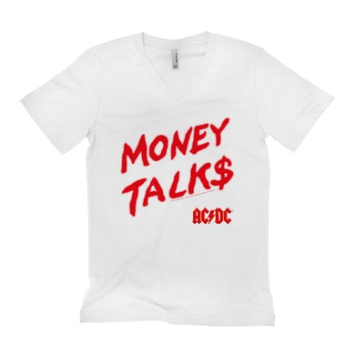AC/DC Unisex V-neck T-Shirt | Money Talks Spray Paint Image ACDC Shirt