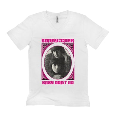 Sonny and Cher Unisex V-neck T-Shirt | Baby Don't Go Pink Frame Image Distressed Sonny and Cher Shirt