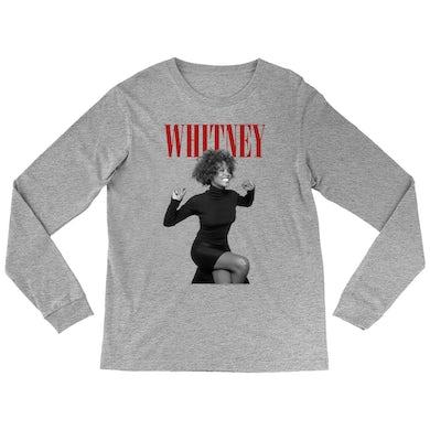 Whitney Houston Long Sleeve Shirt | Whitney Photo And Deep Red Logo Image Whitney Houston Shirt