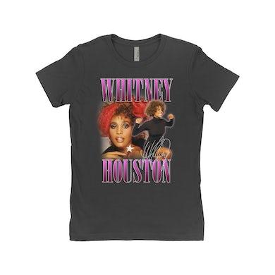 Whitney Houston Ladies' Boyfriend T-Shirt | Whitney Houston Purple Collage Design Whitney Houston Shirt