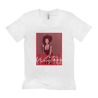 Whitney Houston Unisex V-neck T-Shirt | Whitney Red Tone Photo Design Whitney Houston Shirt