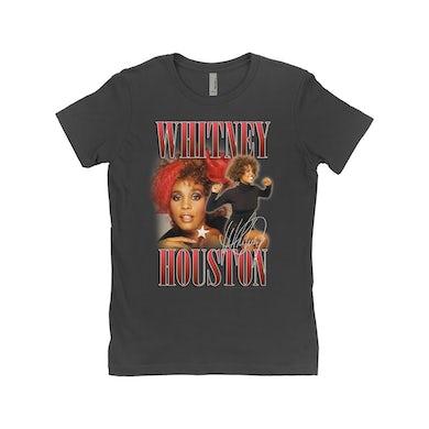 Whitney Houston Ladies' Boyfriend T-Shirt | Whitney Houston Red Collage Design Whitney Houston Shirt