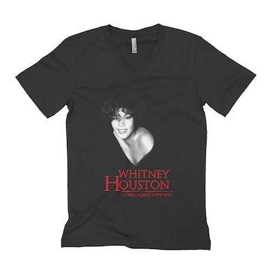 Whitney Houston Unisex V-neck T-Shirt | I Will Always Love You Logo And Photo Whitney Houston Shirt