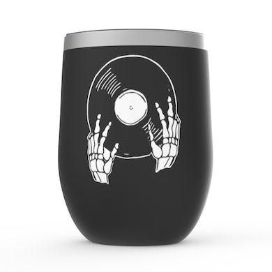Merchbar Music Life Wine Tumbler   Skeletons Spin Vinyl Too Merchbar Music Life Stemless Wine Tumbler