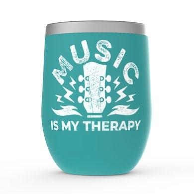 Merchbar Music Life Wine Tumbler   Music Is My Therapy Merchbar Music Life Stemless Wine Tumbler