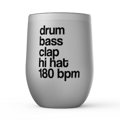 Merchbar Music Life Wine Tumbler   Drum Bass Clap Merchbar Music Life Stemless Wine Tumbler