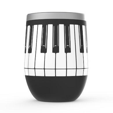 Merchbar Music Life Wine Tumbler   Piano Keys Merchbar Music Life Stemless Wine Tumbler