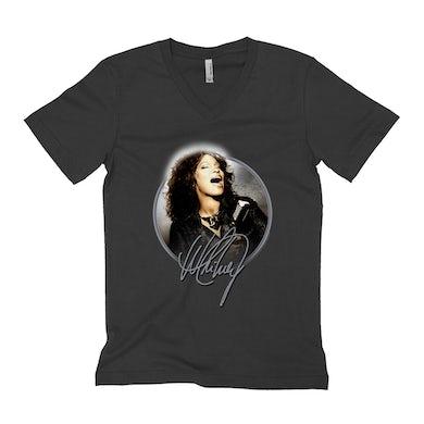 Whitney Houston Unisex V-neck T-Shirt | Nothing But Love Singing Glowing Circular Image Whitney Houston Shirt