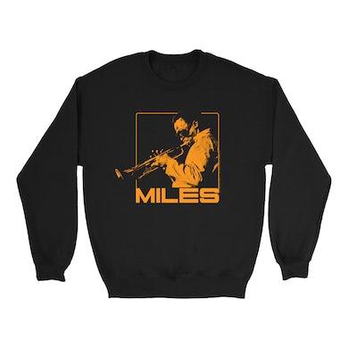 Miles Davis Sweatshirt | Miles Playing Trumpet Orange Design Miles Davis Sweatshirt