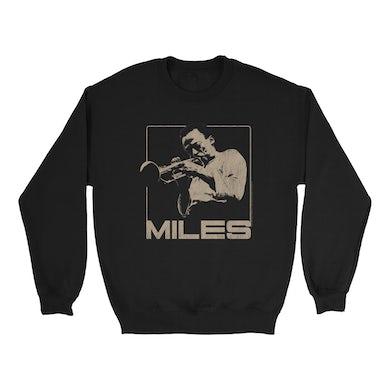 Miles Davis Sweatshirt | Miles Playing Trumpet Distressed Design Miles Davis Sweatshirt