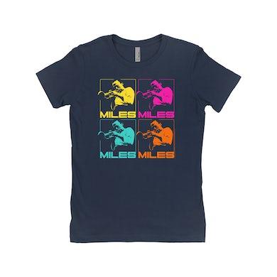 Miles Davis Ladies' Boyfriend T-Shirt | Miles Playing Trumpet Pop Art Design Miles Davis Shirt