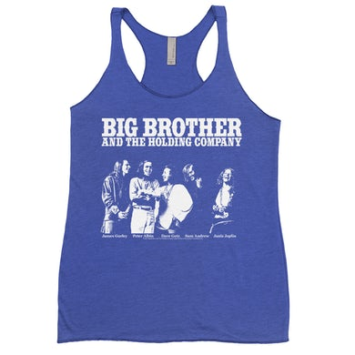 Big Brother And The Holding Company Big Brother and The Holding Co. Bold Colored Racerback Tank | Featuring Janis Joplin Black and White Photo Big Brother and The Holding Co. Shirt