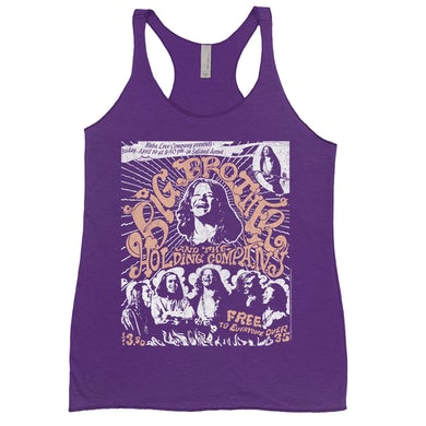 Big Brother And The Holding Company Big Brother and The Holding Co. Bold Colored Racerback Tank | Featuring Janis Joplin Fresno Concert Flyer Big Brother and The Holding Co. Shirt