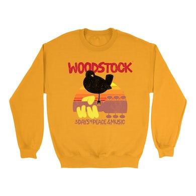 Woodstock Bright Colored Sweatshirt | Bird And Guitar Woodstock Sunset Woodstock Sweatshirt