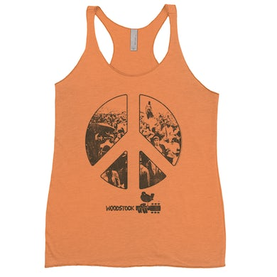 Woodstock Bold Colored Racerback Tank | Crowd Photo Peace Sign Woodstock Shirt