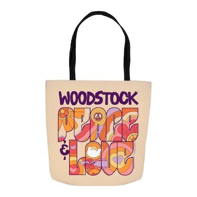 Woodstock Tote Bag | Peace And Love Groovy Design Woodstock Bag