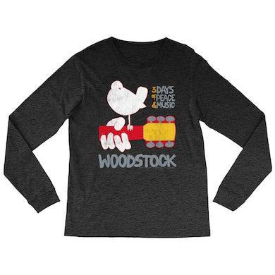 Woodstock Heather Long Sleeve Shirt | 3 Days Of Peace And Music Logo Woodstock Shirt