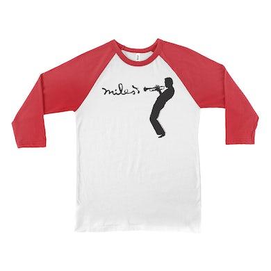 Miles Davis 3/4 Sleeve Baseball Tee | Miles Playing Trumpet Logo Miles Davis Shirt