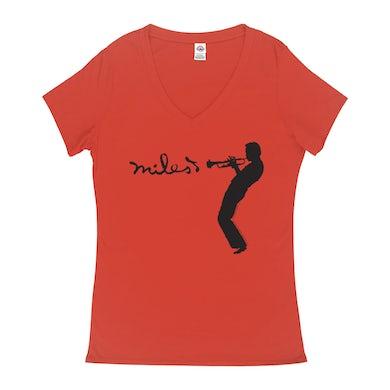 Miles Davis Ladies' V-neck T-Shirt | Miles Playing Trumpet Logo Miles Davis Shirt