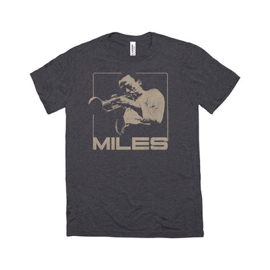 Miles Davis Triblend T-Shirt | Miles Playing Trumpet Distressed Design Miles Davis Shirt