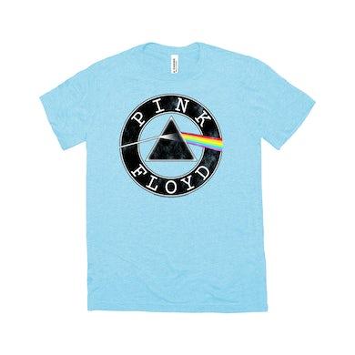 Pink Floyd Triblend T-Shirt | Dark Side Of The Moon Circle Logo Distressed Pink Floyd Shirt