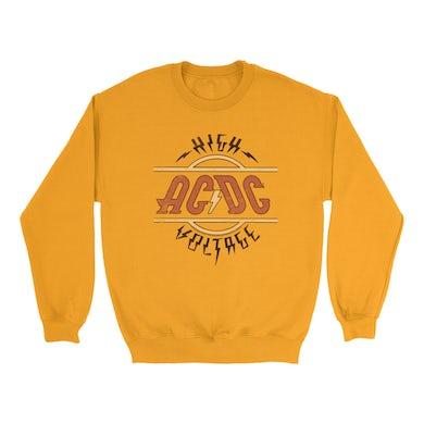 AC/DC Bright Colored Sweatshirt | Retro Colored High Voltage Design Distressed ACDC Sweatshirt